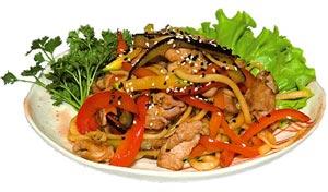 """Лапша со свининой с овощами и соусом """"Терияки"""""""