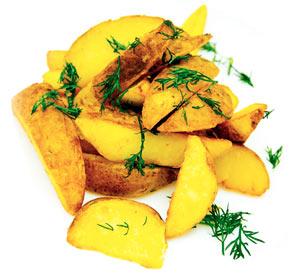 Картофельные дольки с зеленью и чесноком
